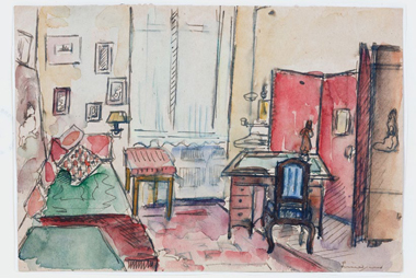Ubierring, Merellas Zimmer, 1948/49, Aquarell, 13 × 18 cm Fotografie: M. Wittassek