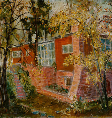 Inselhaus im Herbstlaub, 1937, Öl/Leinwand, 30 × 65,5 cm (Ausschnitt)