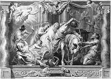 Schelte à Bolswert, Triumph des Abendmahls über den Götzendienst. Aus der Folge: Triumph der Eucharistie, um 1630, Kupferstich, 63,0 × 90,5 cm